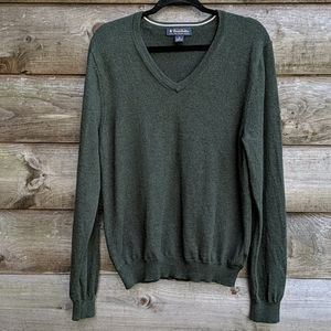 Brooks Brothers Stretch Wool V Neck Sweater Green